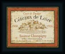 French Wine Labels II by Daphne Brissonnet Vintage Style Sign 14x11 Framed Art