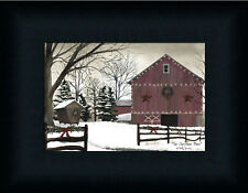 Christmas Barn Country Farm Snow Landscape Framed Art Print Wall Décor 5x7
