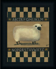 ABC Sheep Sampler Primitive Folk Art Country Framed Art Print Wall Décor Picture