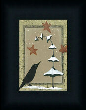 Winter Crow Primitive Folk Art Country Framed Art Print Wall Décor Picture 7x5
