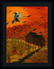Halloween Night Witch Flying on a Broom Framed Art Print Wall Décor 16x12