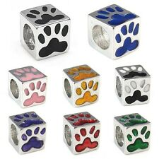 Wholesale Lot 10pcs Dog Paw Print Silver European Spacer Charm Bead For Bracelet