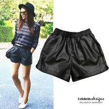 sh18 Celebrity Style Loose-fit High-waisted Black Faux Leather Shorts Hotpants