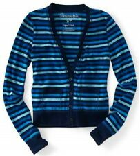 Aeropostale Blue Multi Stripe Womens V Neck Button Cardigan Sweater Sz L XL XXL