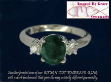 Sterling Silver 925 GENUINE EMERALD Ring-Rough Cut w/Accents in size 8 or 9