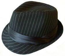 FEDORA PIN STRIPE TRILBY GANGSTER FEDORA BUCKET HAT MEN WOMEN CAP -Black Band