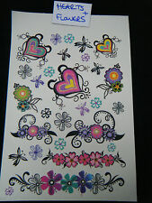 1x LARGE SHEET GIRLS COLOURFUL HEARTS & FLOWERS TEMPORARY TATTOOS 190mmx120mm UK
