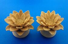 New Organic White Water Lily Fllower made from Sabo Wood. ( 2 gauge to 1 Inch)
