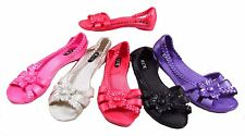 Brand New SILICONE RUBBER JELLY FLAT HEEL SHOE Open Toe Plaited Flower Sandal