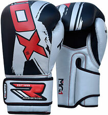 Auth RDX Leather Gel Boxing Gloves Fight,Punch Bag MMA Muay thai Grappling Pad G