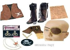 Pirate Fancy Dress Costume Accessories Bandana sash waistcoat Earring shirt etc