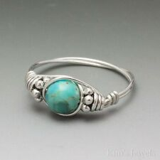 Kingman AZ Turquoise Bali Sterling Silver Wire Wrapped Bead Ring ANY size
