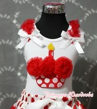 White Pettitop Red Minnie Cupcake Red Ruffle White Bow Top for Pettiskirt NB-8Y
