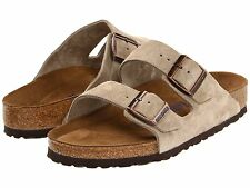Men's Birkenstock Sandals Soft Footbed Arizona Taupe Suede Reg