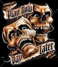 Biker Tshirt Play Now Pay Later Skull Ride Danger Motorcycle Rally Game Cards