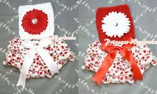Newborn Baby Red White Cherry Bloomer with Optional Crochet Tube Top 2PC NB-2Y