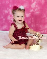 NewBorn Baby Raspberry Wine Red Lace Layer Chiffon ONE PIECE Petti Romper NB-3Y
