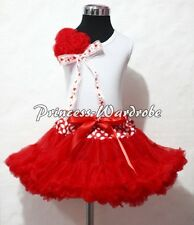 Xmas Minnie Waist Pettiskirt Party Dress Tutu White Pettitop Bunch of Rose 1-8Y