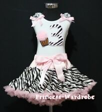 Light Pink Zebra FULL Pettiskirt White Top Zebra Birthday Number 3RD wif Cake 3T