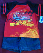 "BOYS 2PC DISNEY ""LIGHTNING MCQUEEN""  T SHIRT & JEAN SHORTS SET  18MOS-4T  NWT"