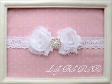 WHITE Rosettes Diamante Perla Girls Baby Cerchietto LILLY BELLE