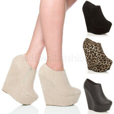 WOMENS LADIES HIGH HEEL WEDGE PLATFORM ZIP ANKLE SHOE BOOTS BOOTIES SIZE