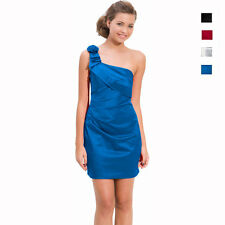 Draped Satin One Shoulder Formal Cocktail Evening Dress Prom Party Wear co3096