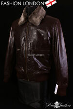 PILOT Brown Men's Fur Collar Lambskin Leather Retro Short Aviator Bomber Jacket