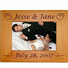 Personalized Wood 4x6 5x7 8x10 Picture Frames Custom Engraved Wedding Gifts