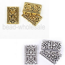 10/50pcs Antique Silver&Golden Tibetan Silver 3-3 Hole Oblong Loose Spacer Beads