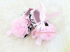 Infant Baby Toddler Girl Light Pink Damask Shoe Ribbon Light Pink Rose 0-18Month