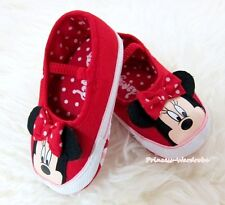 Toddler Girl Hot Reds Polka Dot Baby Crib Minnie Shoe wif Hot Red Bow 0-18Month