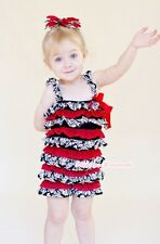 NewBorn Baby Hot Red Damask Print Lace Chiffon ONE PIECE Petti Romper NB-3Year
