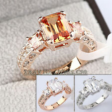 Engagement Wedding Band Ring 3-Stone 18KGP CZ Rhinestone Crystal Sz 5.5-10
