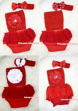 Baby Hot Red Girl Bloomer Pantie Crochet Tube Top with Headband 3PC Set NB-3Year
