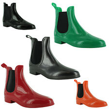 New Ladies Wellington Rain Waterproof Chelsea Ankle Boots Sizes UK 3 4 5 6 7 8