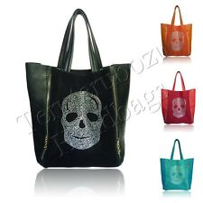 Ladies Celebrity Large Faux Leather Suede Diamante Skull Tote Shopper Hobo Bag