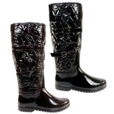 WOMENS QUILTED TALL KNEE HIGH WELLINGTON WELLIE BOOTS LADIES 3-8
