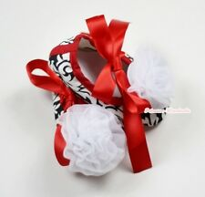 Infant Baby Toddler Girl Hot Red Damask Print Shoe Ribbon with White Rose 0-18M