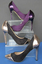 L2250 - Pointed Patent Toe Court Shoes - Purple and Black/Pewter Available *SALE