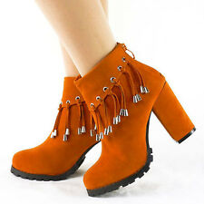 Womens Orange Tassels Zipper Mid Block Chunky Heel Ankle Boots Shoes AU Size 4-9