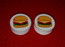 "New Acrylic Single Flared "" Cheese Burger "" Logo Plugs.( 2 Gauge to 1"" inch)"