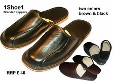 Calf leather men's slippers 100%leather warm lined with Sheep Wool