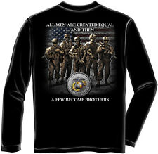USMC Marine Corps Long Sleeve Shirt All Men Are Created Equal Semper Fi Soldier