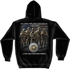 USMC Marine Corps Hoodie All Men Are Created Equal Semper Fi Devil Dog Soldier