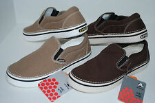 NEW NWT CROCS HOVER SLIP-ON canvas shoe 6 7 8 9 10 11 12 13 KHAKI ESPRESSO BROWN