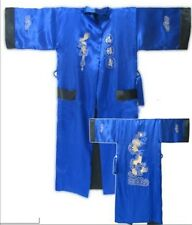 Double-face Chinese men's silk/satin bathrobe robe/gown Sz M L XL XXL XXXL