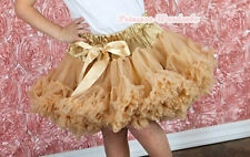 Goldenrod Yellow khaki Pettiskirt Skirt Party Dress Dance Tutu Child Girl 1-8Y