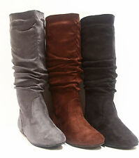 Cute Round Toe Zipper Flat Slouch Mid Calf Knee High Boot Shoes Size 5 - 10 NEW