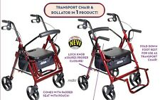 Drive Duet Transport Wheelchair & Rollator/Walker Combo 300lb Capacity #795
